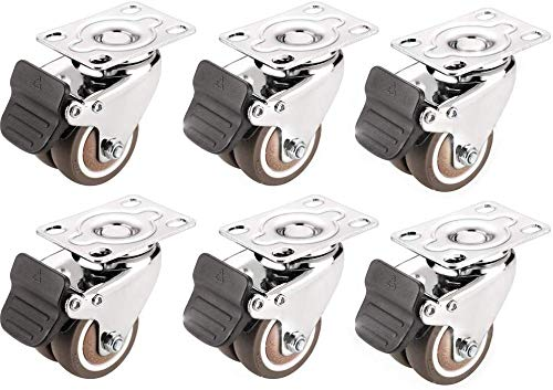 Meubelwielen Platte wielen Roterende Wielen Trolley Accessoires Wielen Remmen Banden Afbuiging Pulley geruisloze Draagvermogen 50 kg per Wiel (2 inch 6 stuks) 2 inch - 6 stuks
