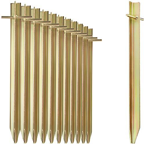 com-four® 8X Zelt-Heringe aus Stahl - Lange und robuste Erdnägel mit T-Profil für Camping und Outdoor - ideal für normalen und harten Boden