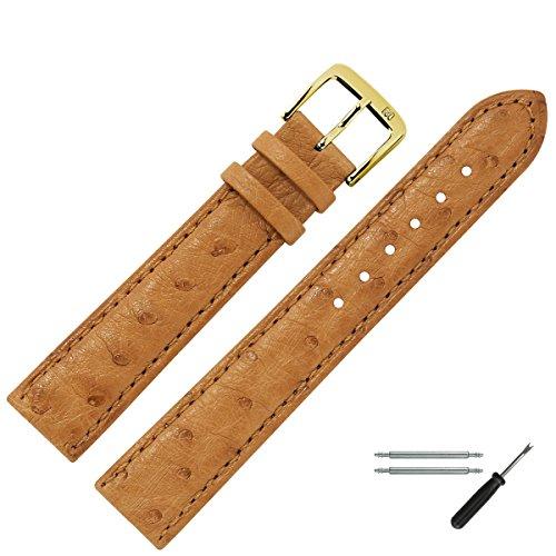 MARBURGER Uhrenarmband 16mm Leder Braun Strauß - Werkzeug Montage Set 8101634000220