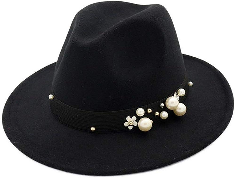 MUMUWU Men Women Fedora Hat with Pearl Cloth Belt Panama Jazz Hat Size 56-58CM