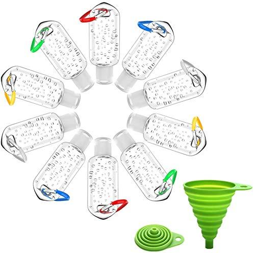 KIHA 10 Botellas de Viaje portátiles de 50 ml a Prueba de Fugas, Botellas vacías Transparentes de pulverización Fina, contenedores con Tapa de Llavero, Botellas de plástico comprimibles para loción