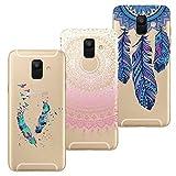 HopMore 3X Coques Coque Samsung Galaxy A6 Plus / A6+ Transparente Motif Mandala Fleur Swag Silicone Souple Etui Antichoc Ultra Mince Fine Case Étui Housse Protection Swag pour Fille Femme - Design B