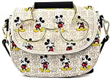 Loungefly Disney Mickey Mouse Hardware Crossbody Bag Purse, White, Standard
