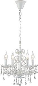 Saint Mossi Elegante Lampadario in cristallo 4 Braccia/Luci Base lampada E14 Verniciato bianco con gocce di cristallo trasparente