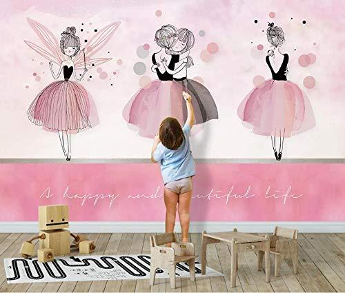 Fototapete 3D Effekt Tapeten Rosa Ballett Umarmt Mädchen Vliestapete Wandbilder Wallpaper Dekoration