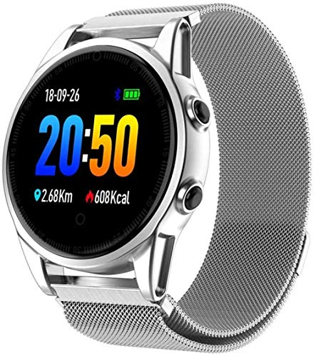 Pulsera de seguimiento de fitness para hombres y mujeres – 1.22TFT pantalla inteligente reloj deportivo calorías ritmo cardíaco monitor podómetro IP67 impermeable-plata