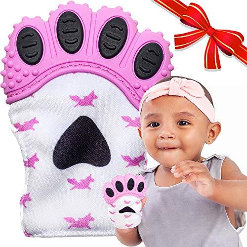 BabyNoms Teething Mitten | The Original Teething Paw | Best Silicone Teething Toys or Teething Ring Provides SelfSoothing Teething Relief | Pink Teether