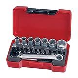 Teng Tools 20 Piece 1/4 Inch Drive 6 Point Metric Regular/Shallow Socket Set (5.5mm - 13mm) - T1420