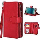Galaxy S9 Plus Lederhülle Rot, Galaxy S9 Plus Hülle Tasche, Purple Angel Magnet Leder Flip Case Abnehmbar Geldbörse Handtasche Kartenfach Book Cover im Ständer Handyhülle Schutzhülle Schale Etui