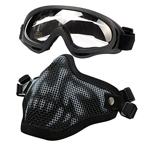 PuddingStation Airsoft Mask and Goggles Airsoft Face Mask AdjustableSteel Mesh Mask Half Face Protection Face Skull Set Outdoor Glasses Goggles for Paintball Shooting Cosplay War Game