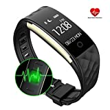 henxiyi Heart Rate Sleep Monitor Fitness Tracker, IP67 Waterproof Wireless Bluetooth 4.0 Smart Wristband Remote Camera Call Reminder Activity Tracker Watch Bracelet for Android and iOS (Black)