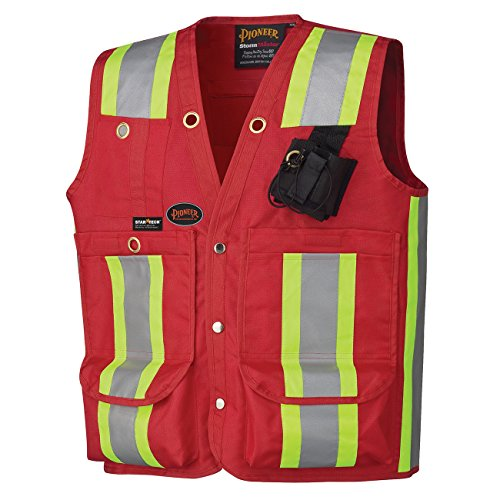 Pioneer Heavy-Duty Reflective Surveyor Safety Vest, 12 Pockets, Red, L, V1010710-L