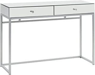 vidaXL Mirrored Console Table Steel and Glass Indoor Living Room Entryway Hall Modern Side Accent Table Furniture 107x33x7...