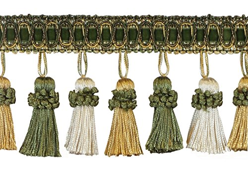 DÉCOPRO 6 Yard Value Pack of Elegant 3 Inch Long Vintage Olive Green,...