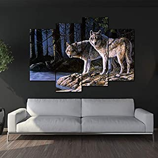 Wolf Poster Canvas Paintingwall Wolf Printed Poster On Animal Two Wolves Painting Canvas Print Roomprint Picture Canvas No Frame