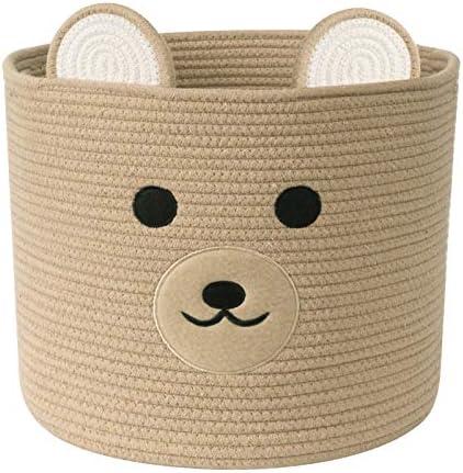 UBBCARE Baby Laundry Basket Bear Decorative Cotton Rope Toy Storage Basket Woven Baby Nursery product image