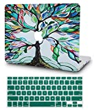 KECC Laptop Case Compatible with MacBook Pro 13' (2020/2019/2018/2017/2016) w/Keyboard Cover Plastic Hard Shell A2159/A1989/A1706/A1708 Touch Bar 2 in 1 Bundle (Colorful Tree)