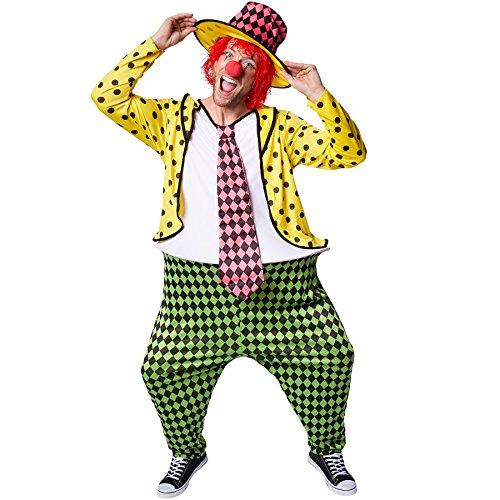TecTake dressforfun Herrenkostüm Clown | Kostüm + Clown-Nase und Hut | Clown-Kostüm Fasching (L | Nr. 300789)