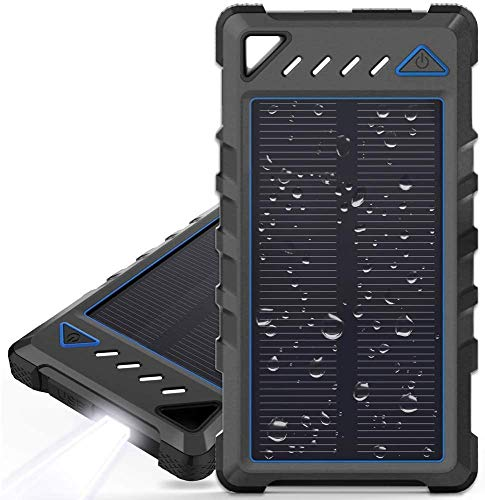 Portable Solar Charger, FYH 10000mAh Ultra-Compact External Batteries with Dual USB Ports, Solar Power Bank with Flashlight for Camping, Outdoor Activities (Black)