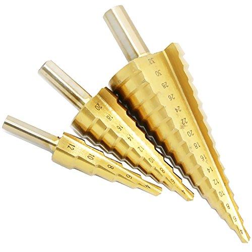 3x Stufenbohrer Kegelfräser Spiralnut HSS Kegelbohrer für Stahl, Aluminium, Kupfer, Edelstahl, Holz und Laminate