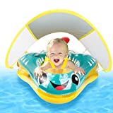 Baby Swimming Float Inflatable Baby Pool Float with Canopy Infant Pool Float for Kids Age of 6-24 Months (Blue)