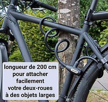 KOHLBURG antivol de 200 cm de Long - refermable Facilement sans clé - Cadenas pour vélo avec Fixation - antivol en Spirale pour vélo & Poussette