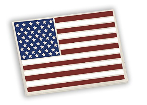 Forge American Flag Lapel Pin Proudly Made in USA- Silver Plated Rectangle Bulk (1 Pin)
