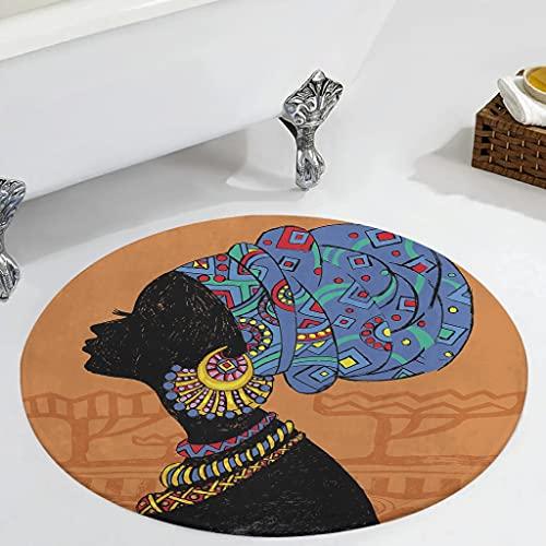 Veryday Alfombra redonda de mujer africana, vintage, para dormitorio, como puerta, felpudo para la habitación de los niños, color blanco, 60 cm
