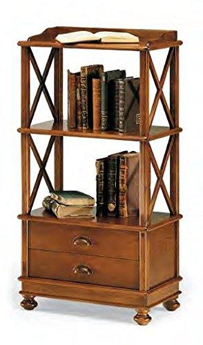 Bois & Design bibliothèque 3 étagères + 2 tiroirs Color Noyer. Classique et Moderne