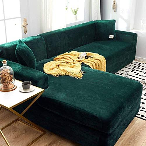 Jonist Dicke Sofabezüge 1/2/3 Sitzer Samt L-Form Sofa Schonbezug Easy Fit Stretch Elastischer Stoff Sofa Couch Möbel Protector-1 Sitzer (90-140 cm) -Dunkelgrün