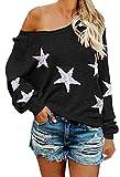COCOLEGGINGS Women's V Neck Long Sleeve Star Sweater Jumper Pullover Black M