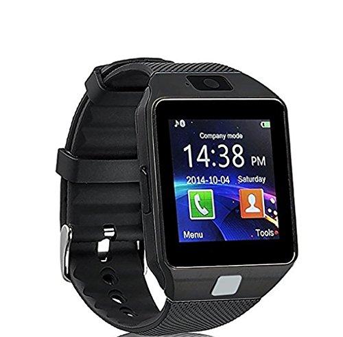 Smart Uhr, CulturesIn Touchscreen Bluetooth Armbanduhr mit Kamera / SIM-Kartensteckplatz / Schrittzähler-Analyse für Android (Vollfunktionen) und IOS (Teilfunktionen) (gun black)