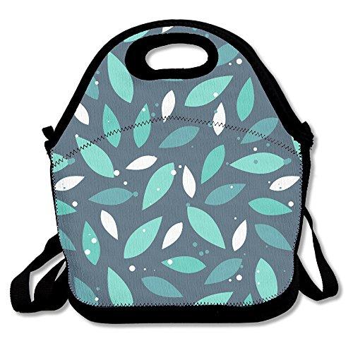 Vert Leaves-dark personnalisé isotherme Lunch Box Sac à nourriture en néoprène Gourmet Sac à main Boîte à lunch Cooler chaud avec sac fourre-tout pour l'école bureau, Polyester, noir, Taille unique