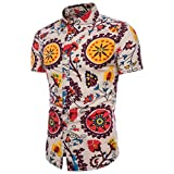 QinMM Camisa Estampada Boho Verano del Hombre de Tallas Grandes, Blusa Delgada Casual de Manga Corta Playa Tops (Amarillo, M)