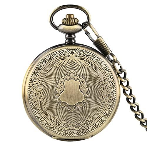 Reloj De Bolsillo De Cuarzo - Creativo Delicado Patrón Tallado Escudo Reloj De Bolsillo De Cuarzo Reloj De Bolsillo De Ratán Floral Analógico Los Mejores Regalos Para Hombres, Mujeres, Bronce,