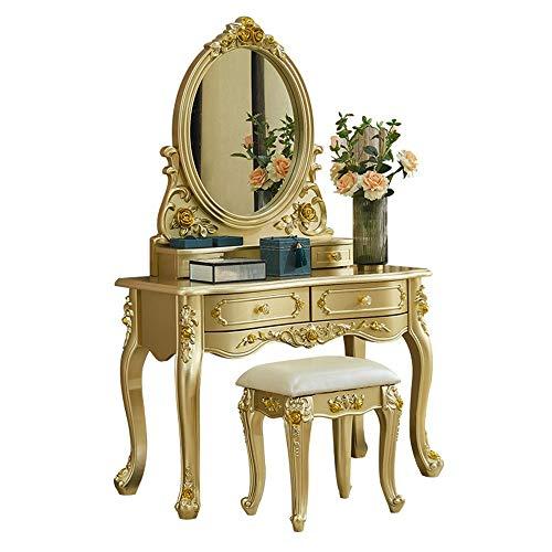 JOMSK Schlafzimmer Schminktische European Style Frisierkommode Schlafzimmer Champagne Gold Small Apartment Mini Luxury Princess (Color : Gold, Size : 0.8m)