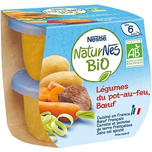 NESTLE NATURNES BIO Petits Pots Bébé Légumes du pot au feu Bœuf - 2x190g - Dès 6 mois