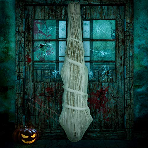 Cocoon Corpse Halloween Decorations Lighted LED Eyes – Hallomas Party Indoor Outdoor Creepy Hanging Haunted House Props…