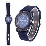 Reloj de pulsera digital electrónico para hombre Reloj de pulsera resistente para mujer de moda de nylon Relojes de pulsera de moda de moda masculina(Blue)