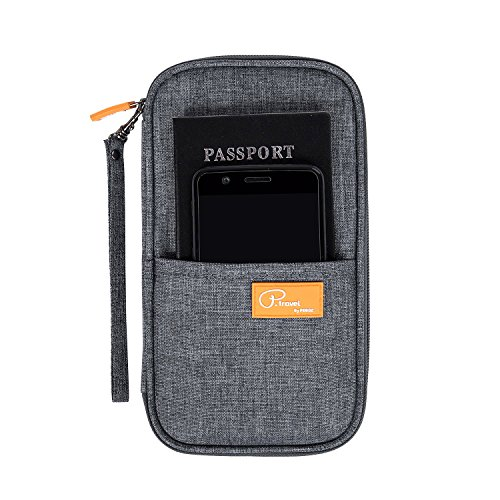 Passport Wallet Holder for Men&Women,RFID Blocking Travel Waterproof Credit Card&Money Bag Multifunctional Family Zipper Cellphone Case Storage Organizer with Removable Wristlet Strap (Gray)