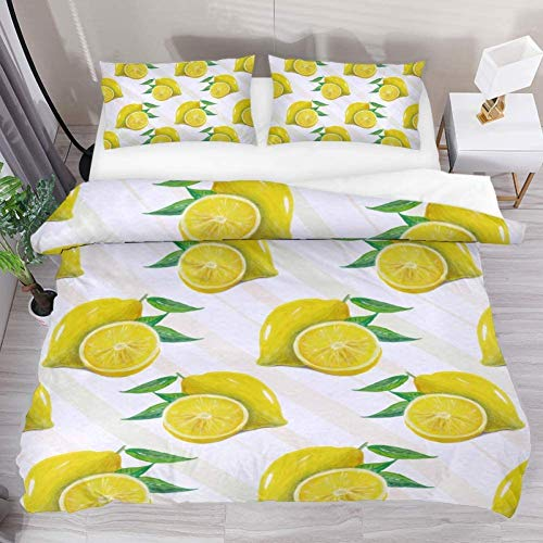 N/A Bettbezug-Set, Sommerfrucht, Zitrone, Schnittmuster, Größe 218 x 178 cm, 3-teiliges Bettwäsche-Set aus Mikrofaser, Tagesdecke mit 2 Kissenbezügen, 1 Bettbezug