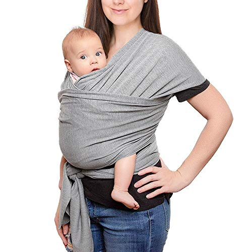 Fular Portabebés Elástico Portador de Bebé Gris Algodón Baby Wrap Carrier Sling Porta Bebé Ergonomico Unisex