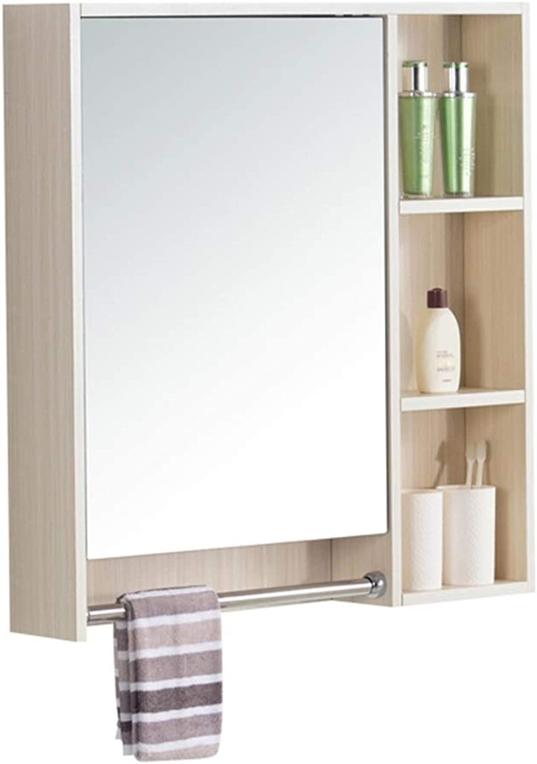 Wall-Mounted Mirror Cabinet Solid Wood Bathroom Mirror Cabinet Bedroom Vanity Mirror Cabinet with Towel Rack Mirror Cabinet (color   White, Size   60  70  12.5cm)