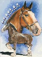 """子供のための5DDIYダイヤモンド塗装キットフルドリル 家の壁の装飾のための完全なダイヤモンドクリスタルラインストーン 動物の馬-12""""x16"""" 5"""