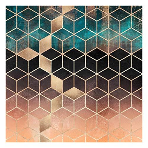 Bilderwelten Fototapete - Türkis Rosé goldene Geometrie - Vliestapete Quadrat 192 x 192cm
