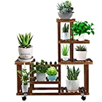 EBBCOWRY Multiple Plants Wooden Shelf with Roller