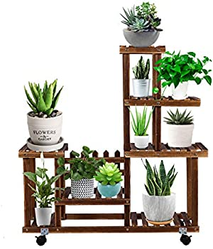 EBBCOWRY Multiple Plants Wooden Stand with Roller