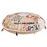 Cojín de suelo redondo bohemio, tradicional vintage indio puf suelo/taburete de pie, 100% algodón, cojín de decoración de arte, solo funda,Pouf 16, indio bohemio