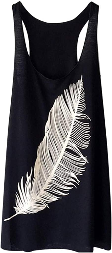 AODONG Women's Tank Tops Loose Fit Soft Summer Feather Printed Long Sleeveless Shirt Casual Tank Top Camisole