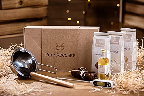 Pure Xocolate DIY-Schokolade - Komplett-Set zum selber machen - Vegan, laktosefrei, zuckerfrei - Weiß, Braun oder Schwarz - Geschenkset für Kinder, Frauen & Männer - Ergibt 4 Tafeln